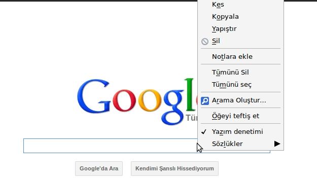 google arama kutusu sağ tıkla